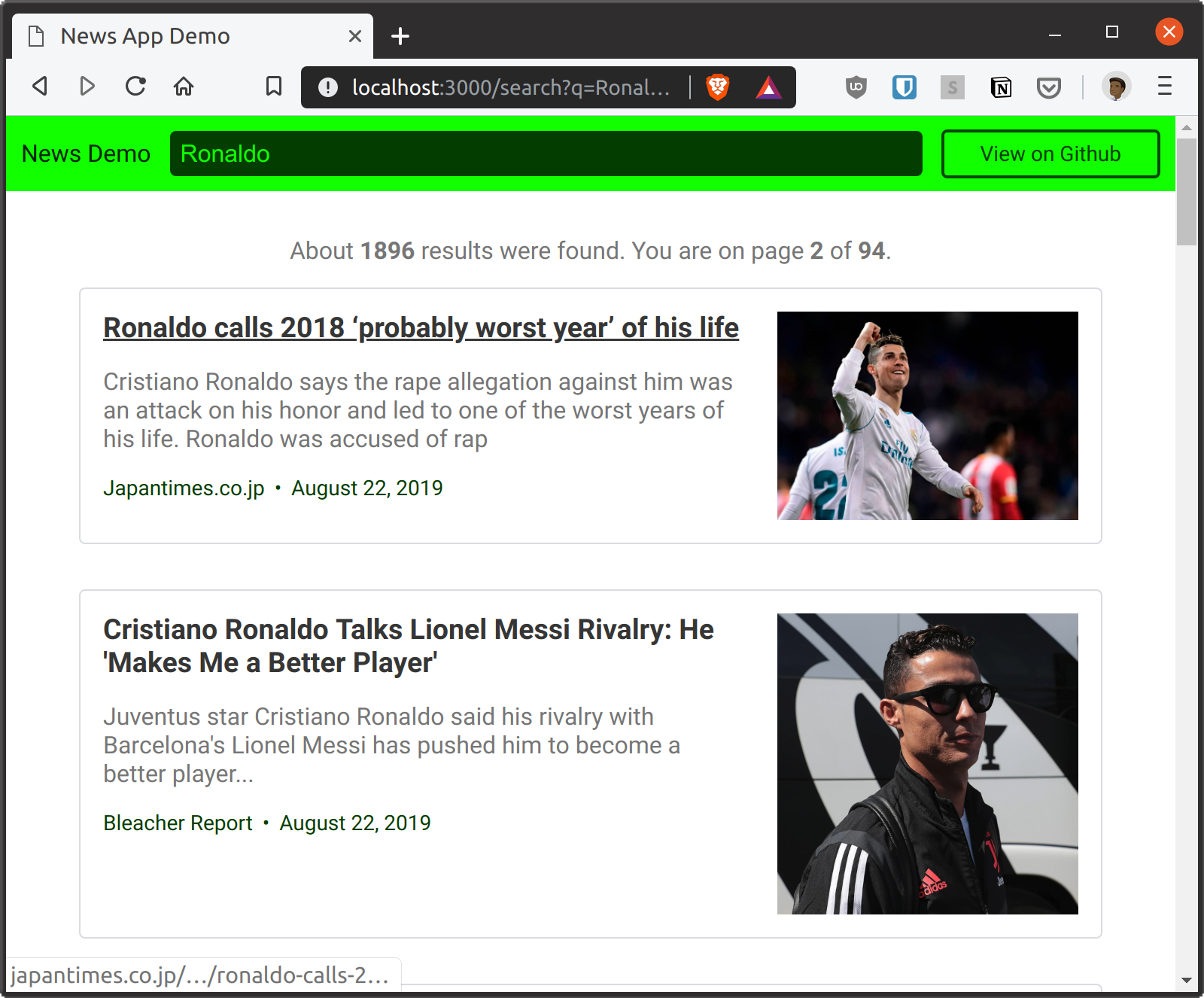 Browser showing current page