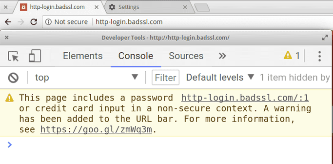 Chrome shows a 'Not secure' warning on http-login.badssl.com