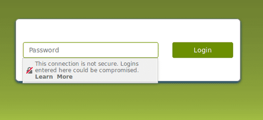 Firefox shows a warning on insecure password fields