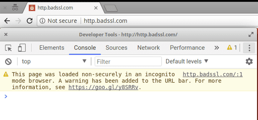 Chrome shows a not secure warning on http.badssl.com in incognito mode