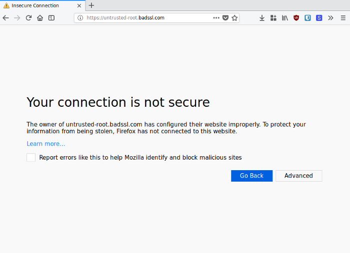 Firefox shows an error when the server returns a certificate that is not signed by a trusted CA