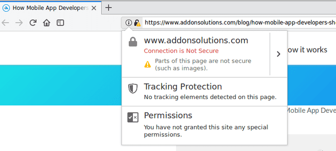 Mixed Content Warning Example in Firefox