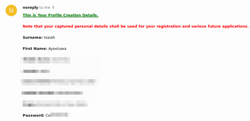 Screenshot of email containing user password in plain text