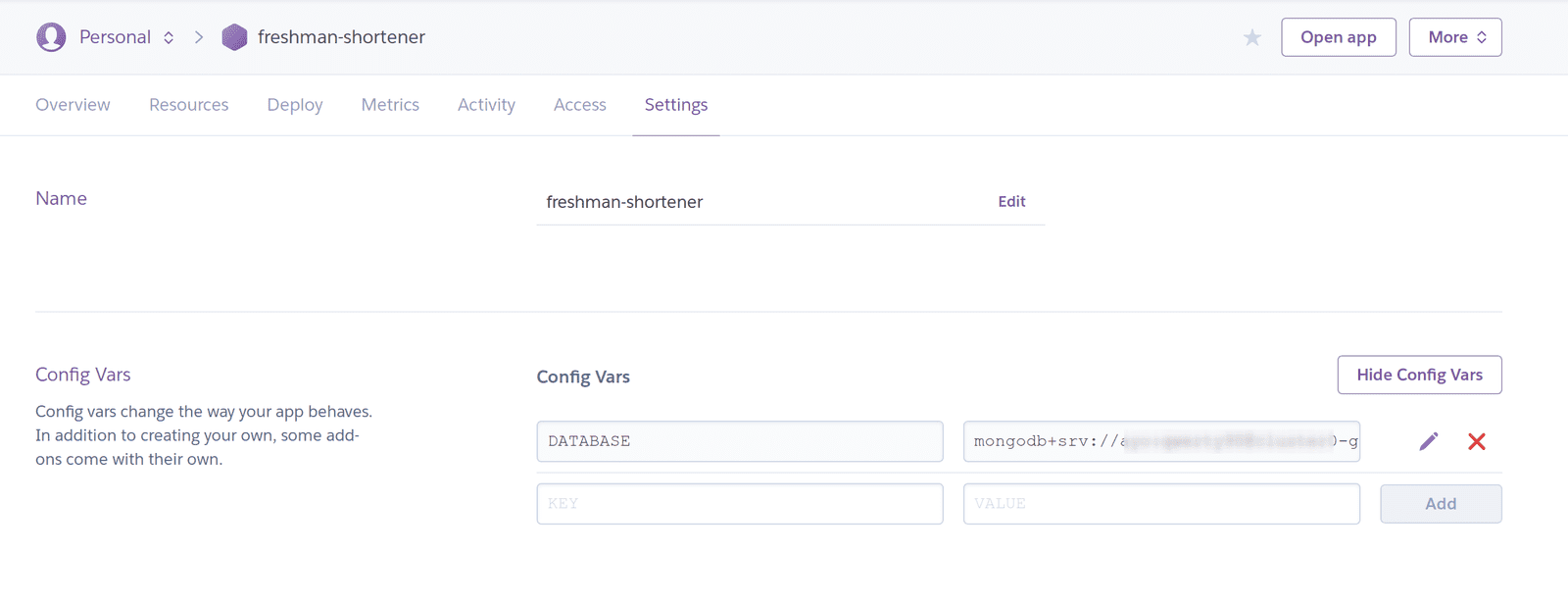 Set up Heroku config variables
