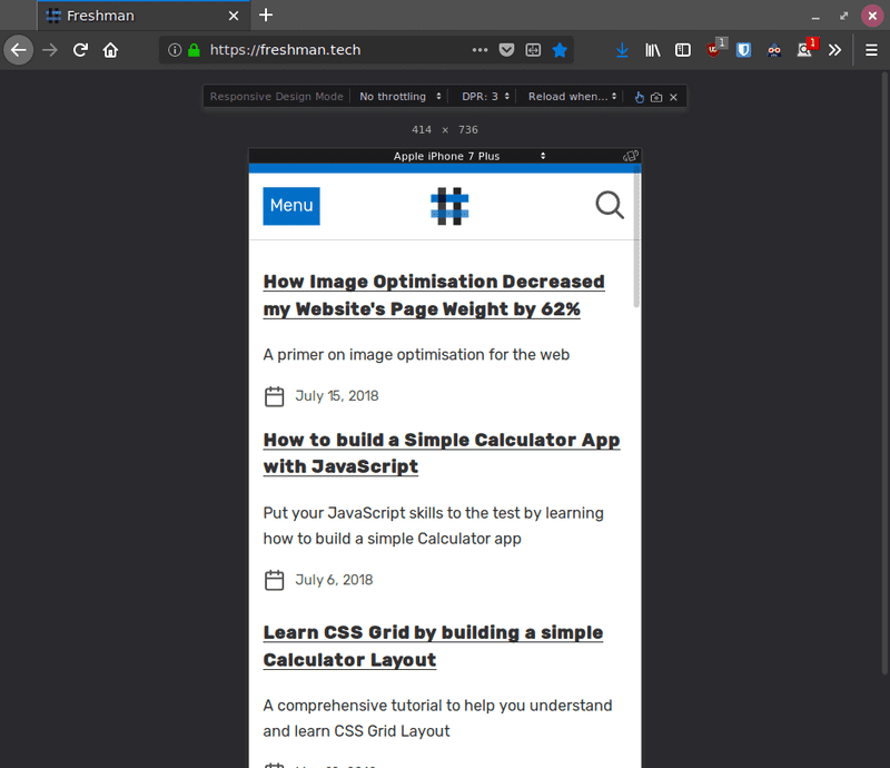 Screenshot of Firefox Responsive Design Mode