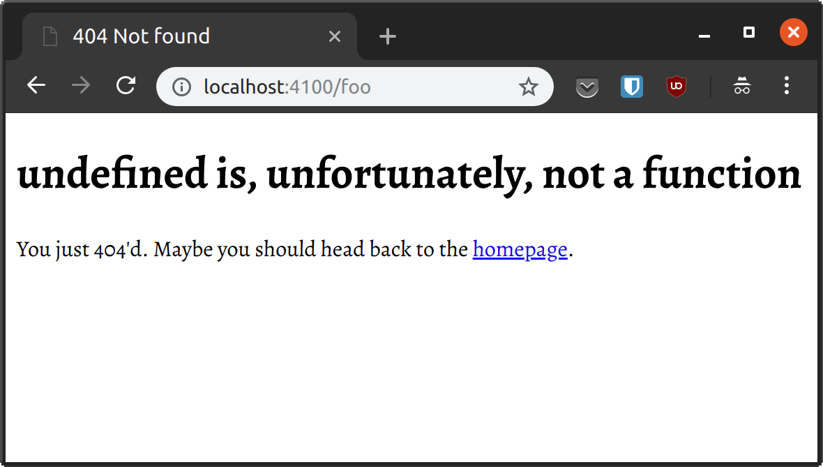 Chrome showing the 404 response that the server sends to the browser
